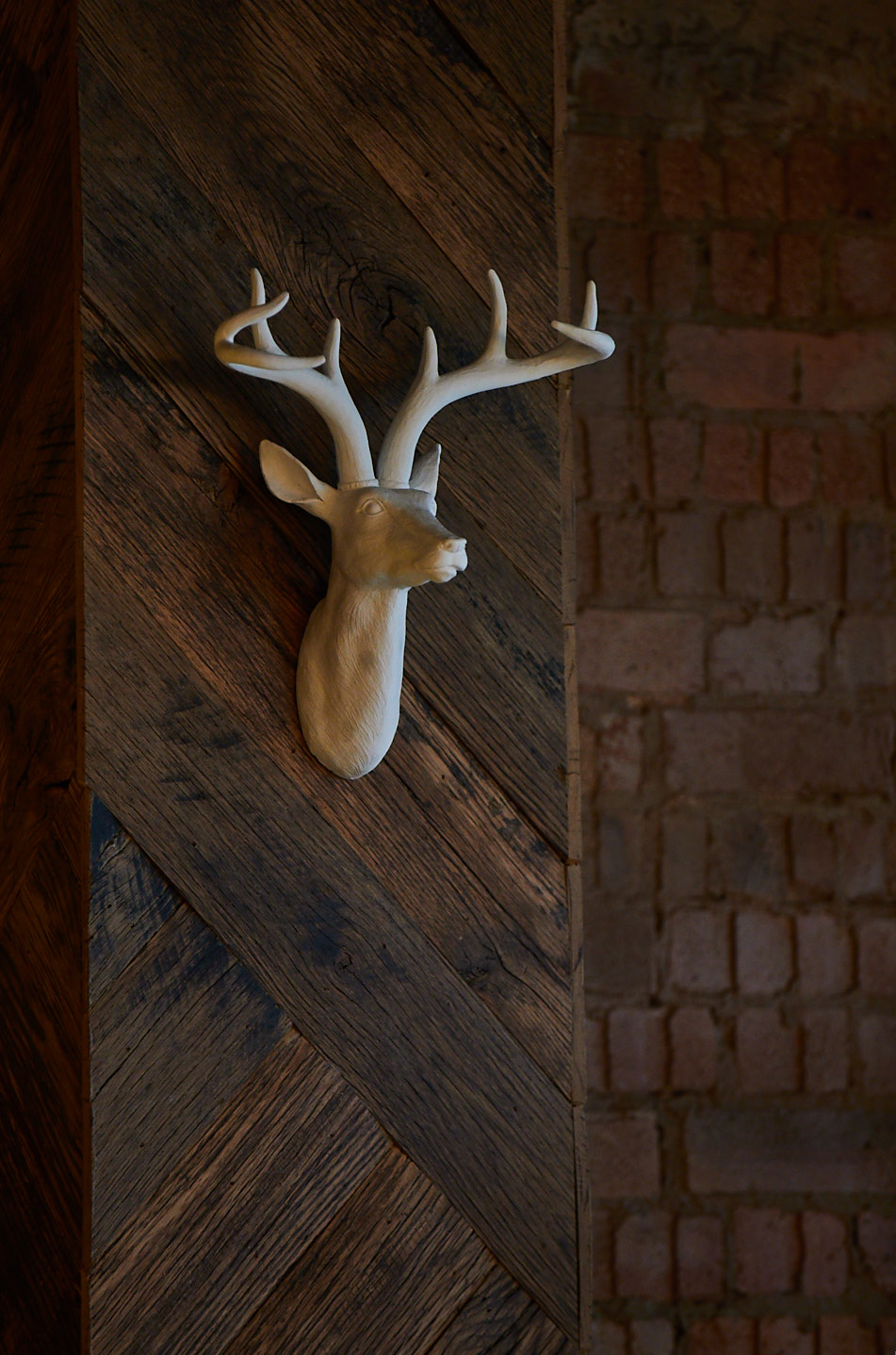 Reclaimed wood clad wall with ceramic deer hung