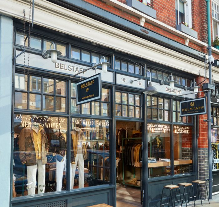 Shop front with green crittall windows