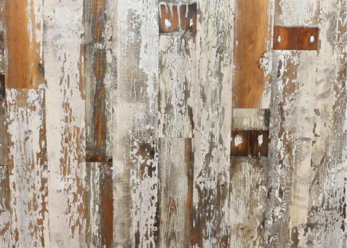 Cracked white wood cladding pressed as a board