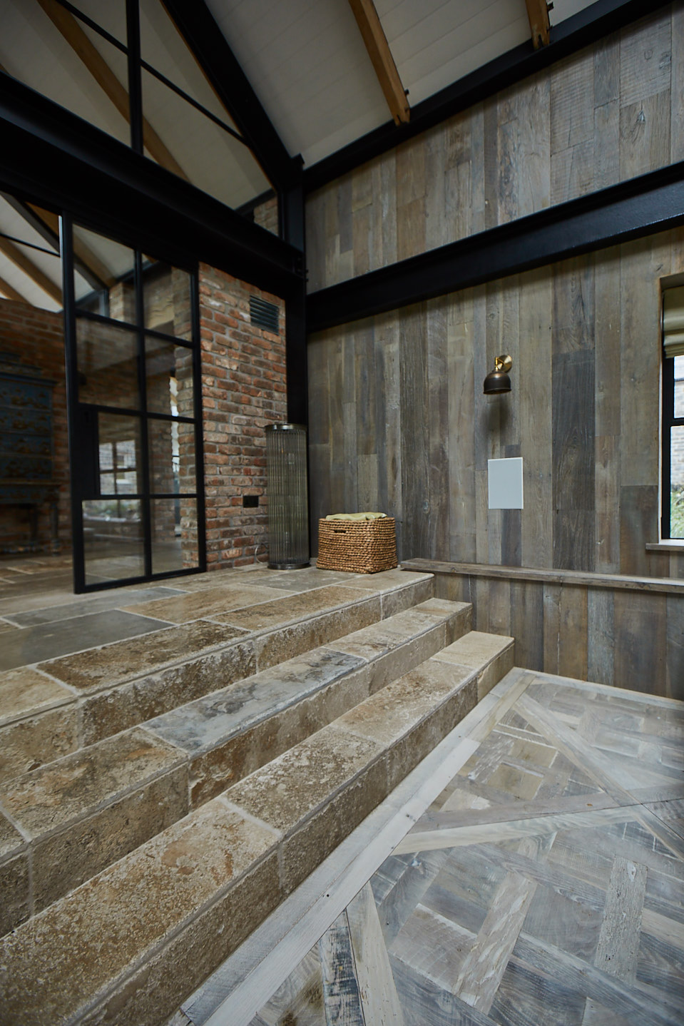 versailles oak panels mix with pine cladded wall and tiled steps