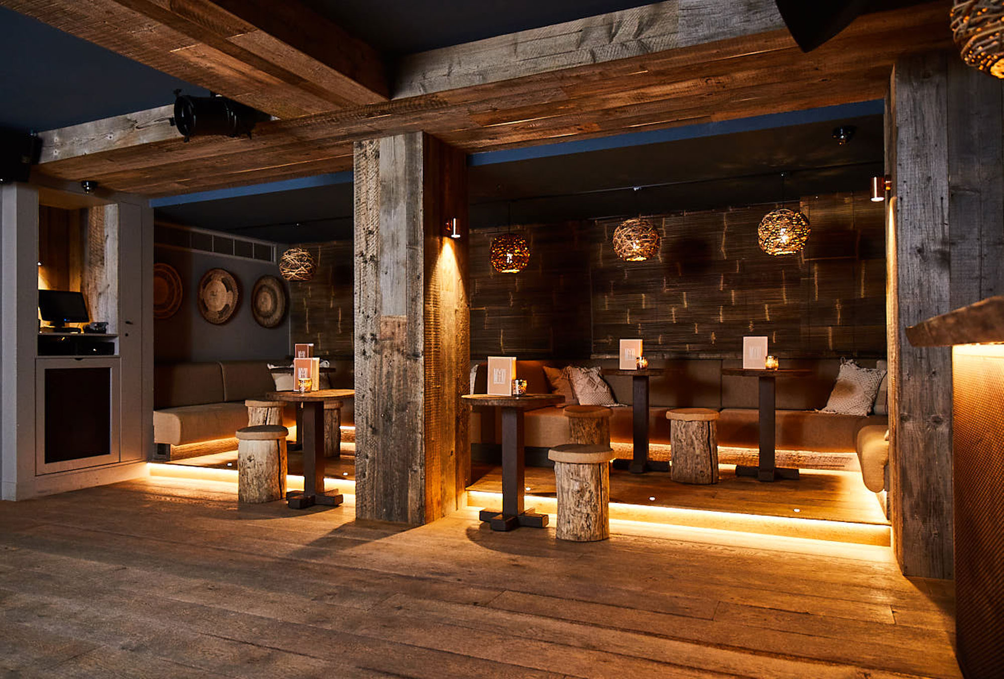 Reclaimed stool seating area in bar
