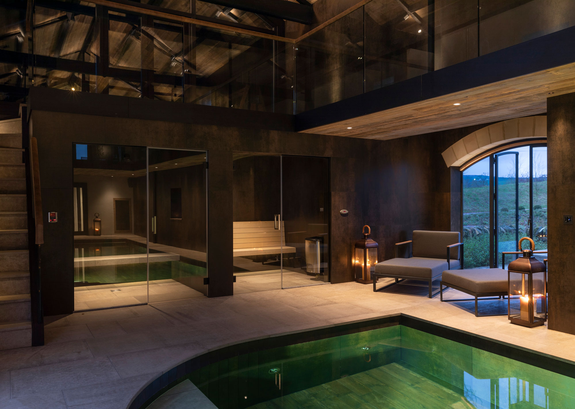 Sauna and steam room with large glass doors