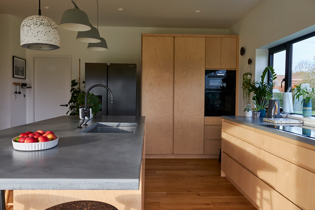 Tall bespoke kitchen units made from birch plywood