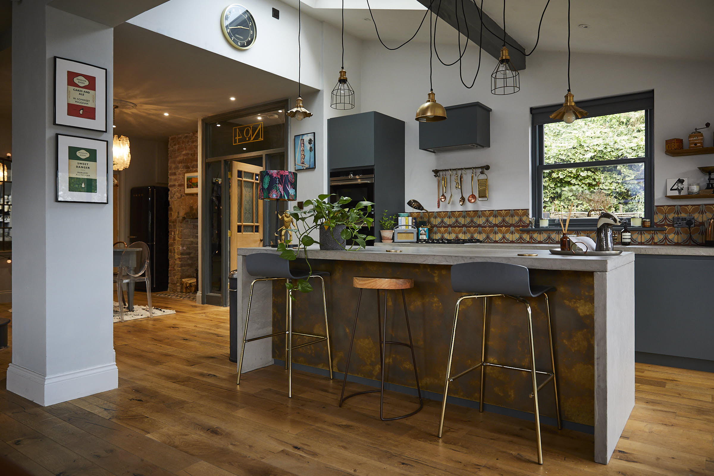 Open plan kitchen with bespoke island