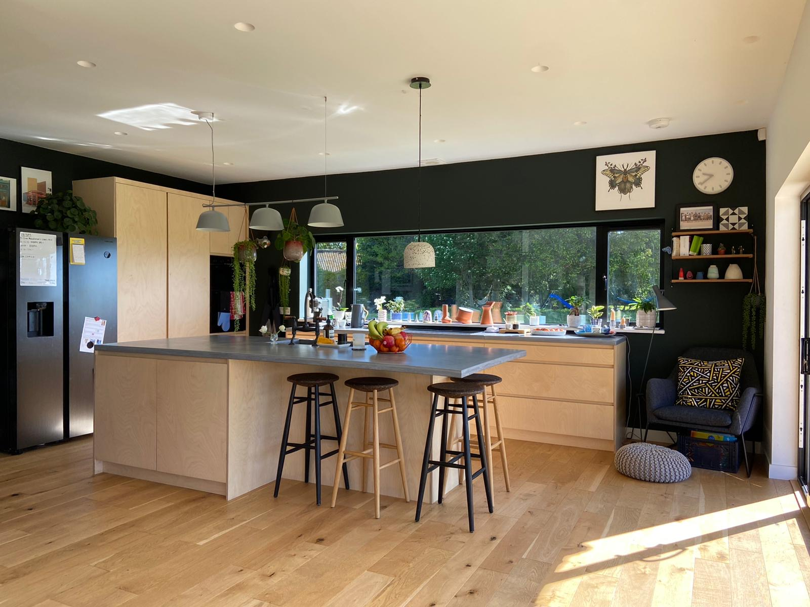 Birch plywood kitchen with solid concrete worktops and green walls