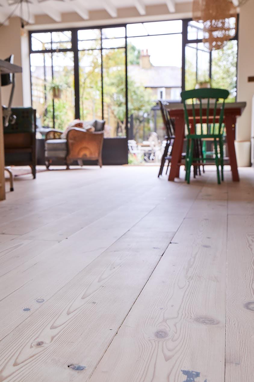 Washed douglas fir pine floorboards