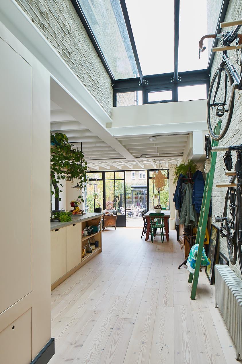 Birch plywood kitchen with velux ceiling