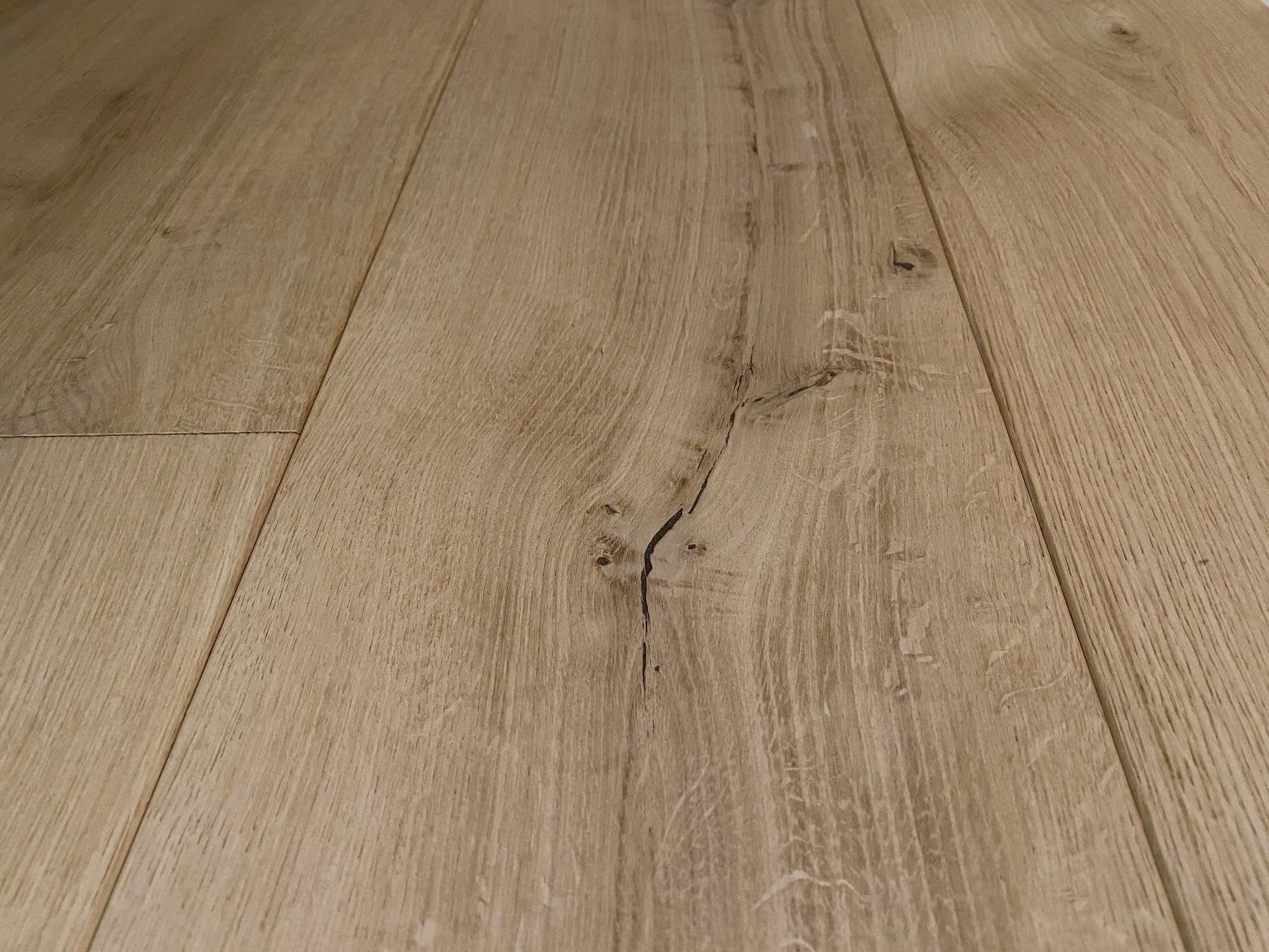 Raw oak floor boards