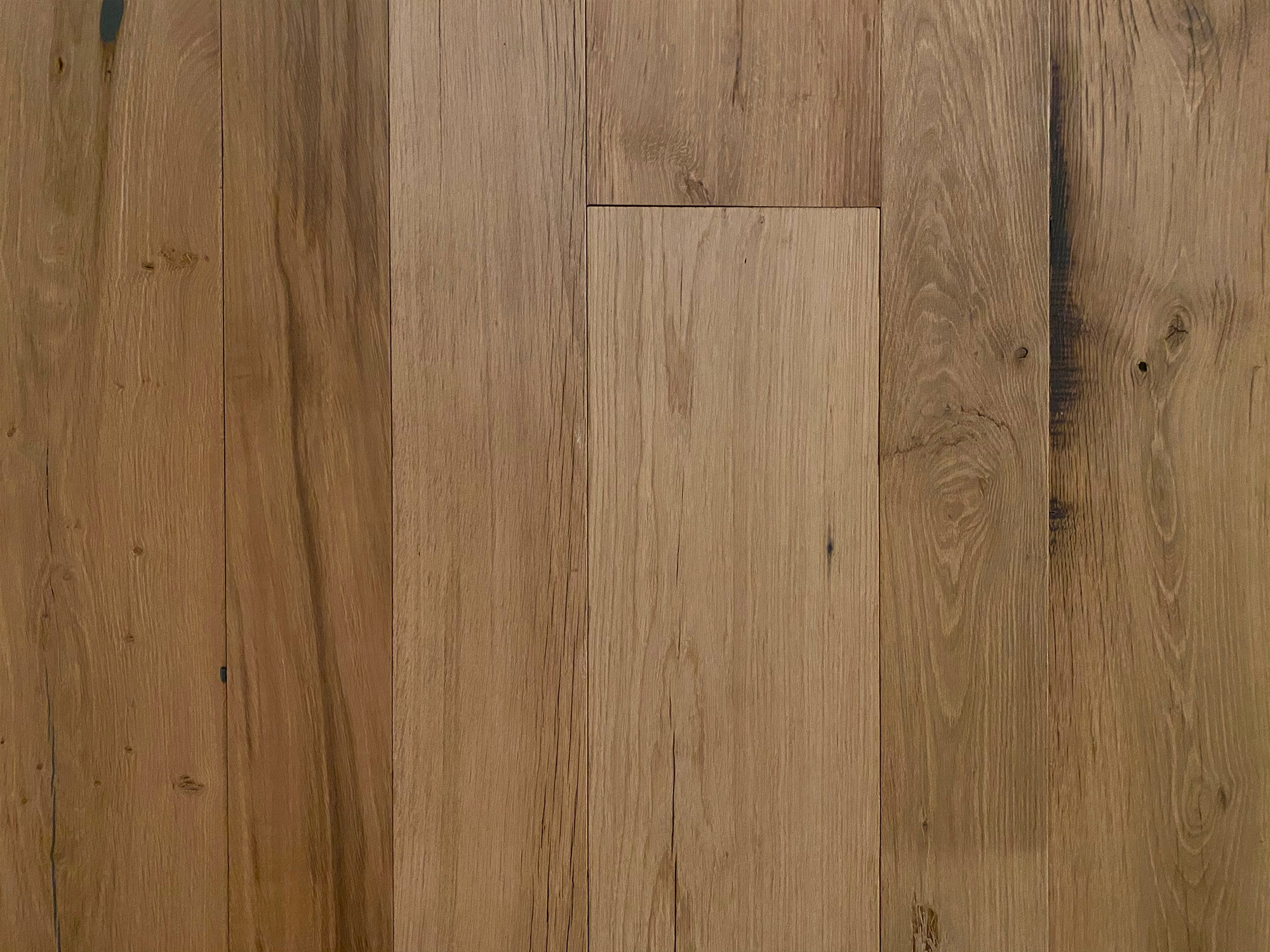Reclaimed flooring in clean oak finish
