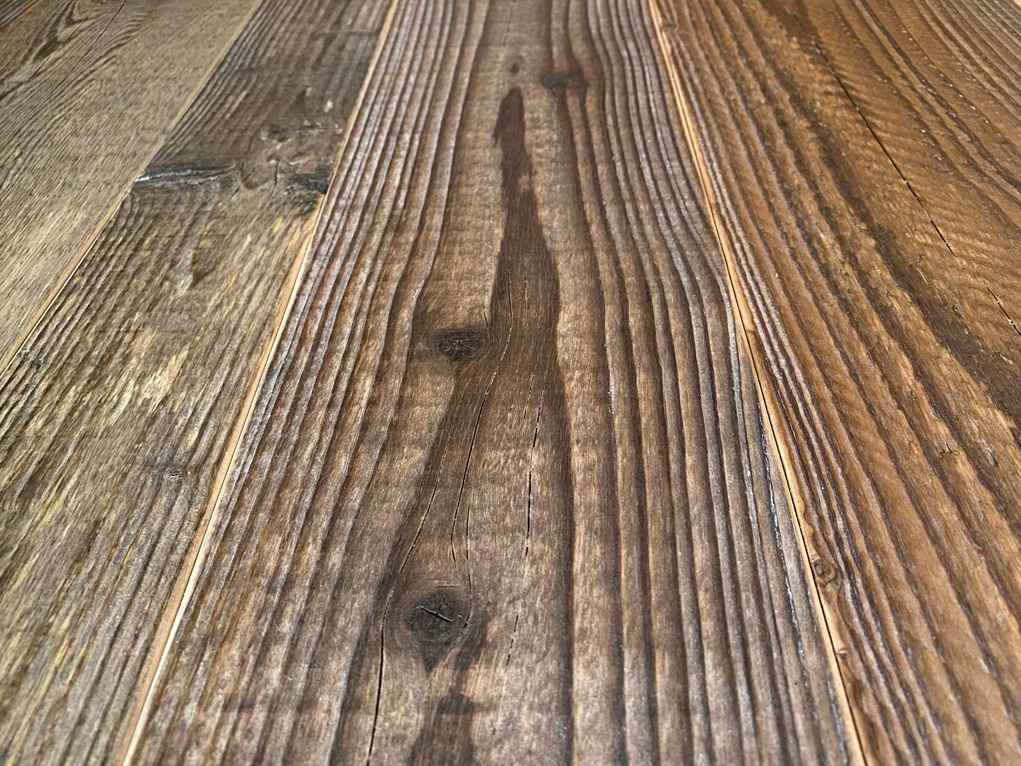 Reclaimed engineered spruce floor boards