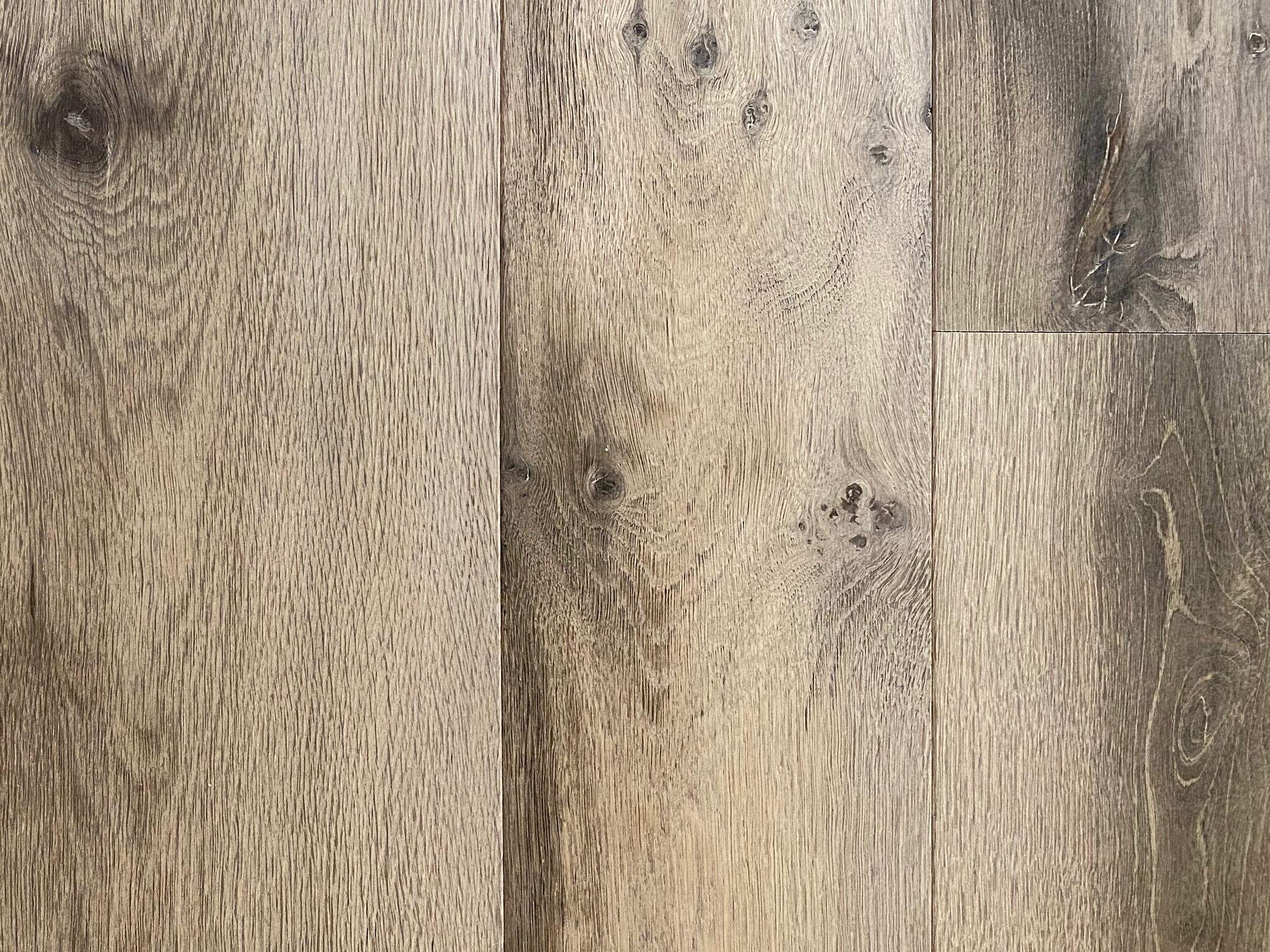 Knots on engineered grey oak flooring
