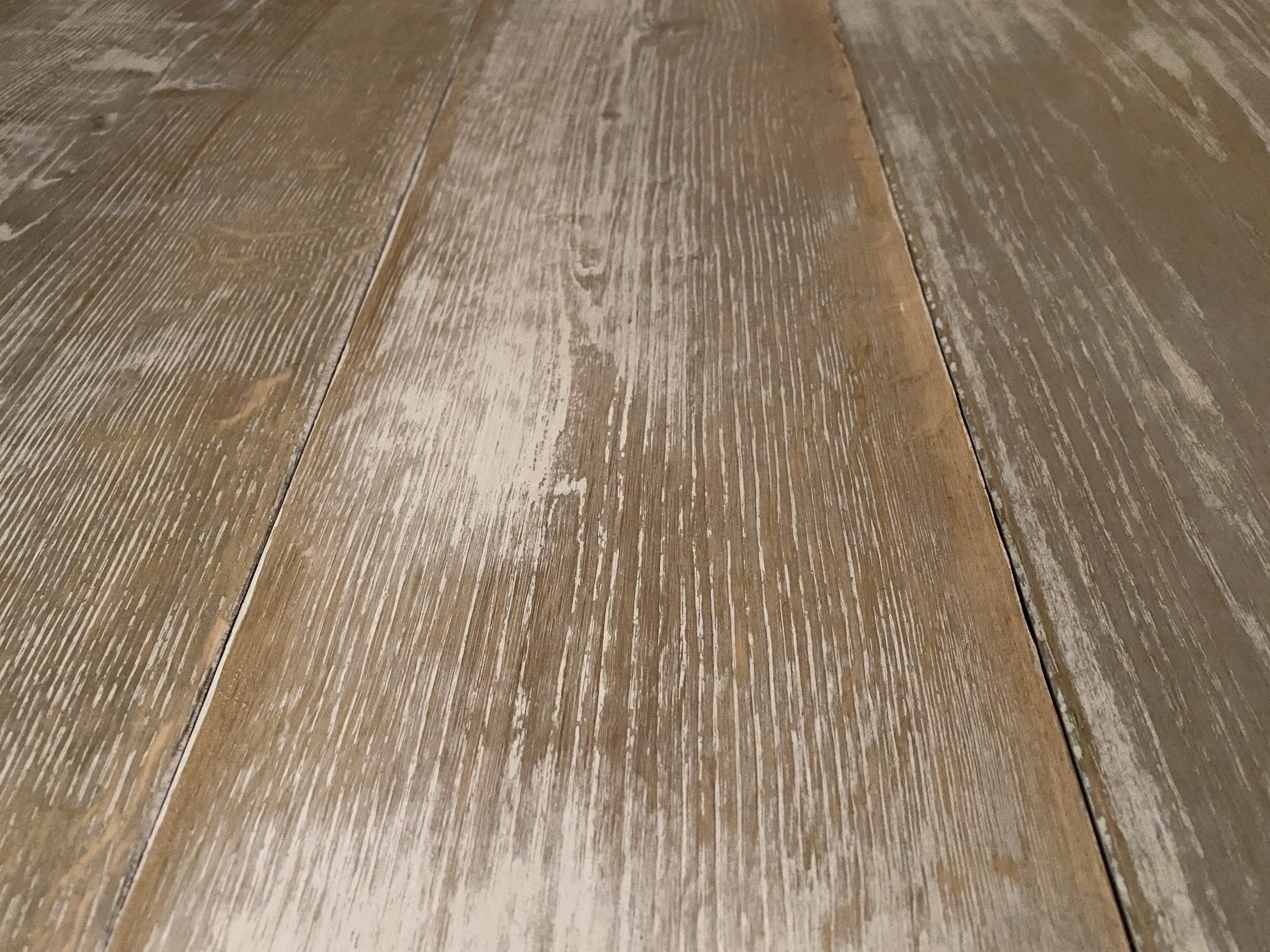 Plank of oak with crackled white paint