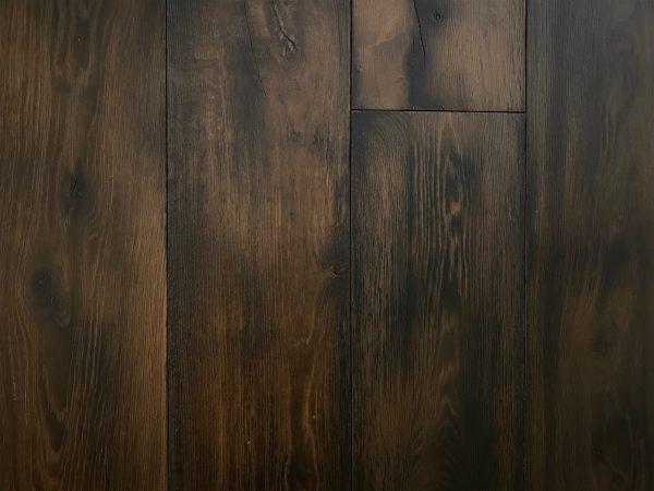 Hand aged dark engineered flooring