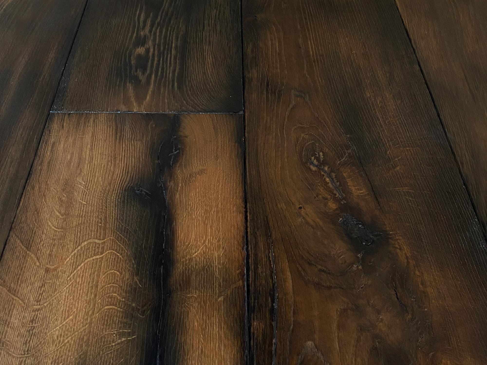 Rich dark oak floor boards