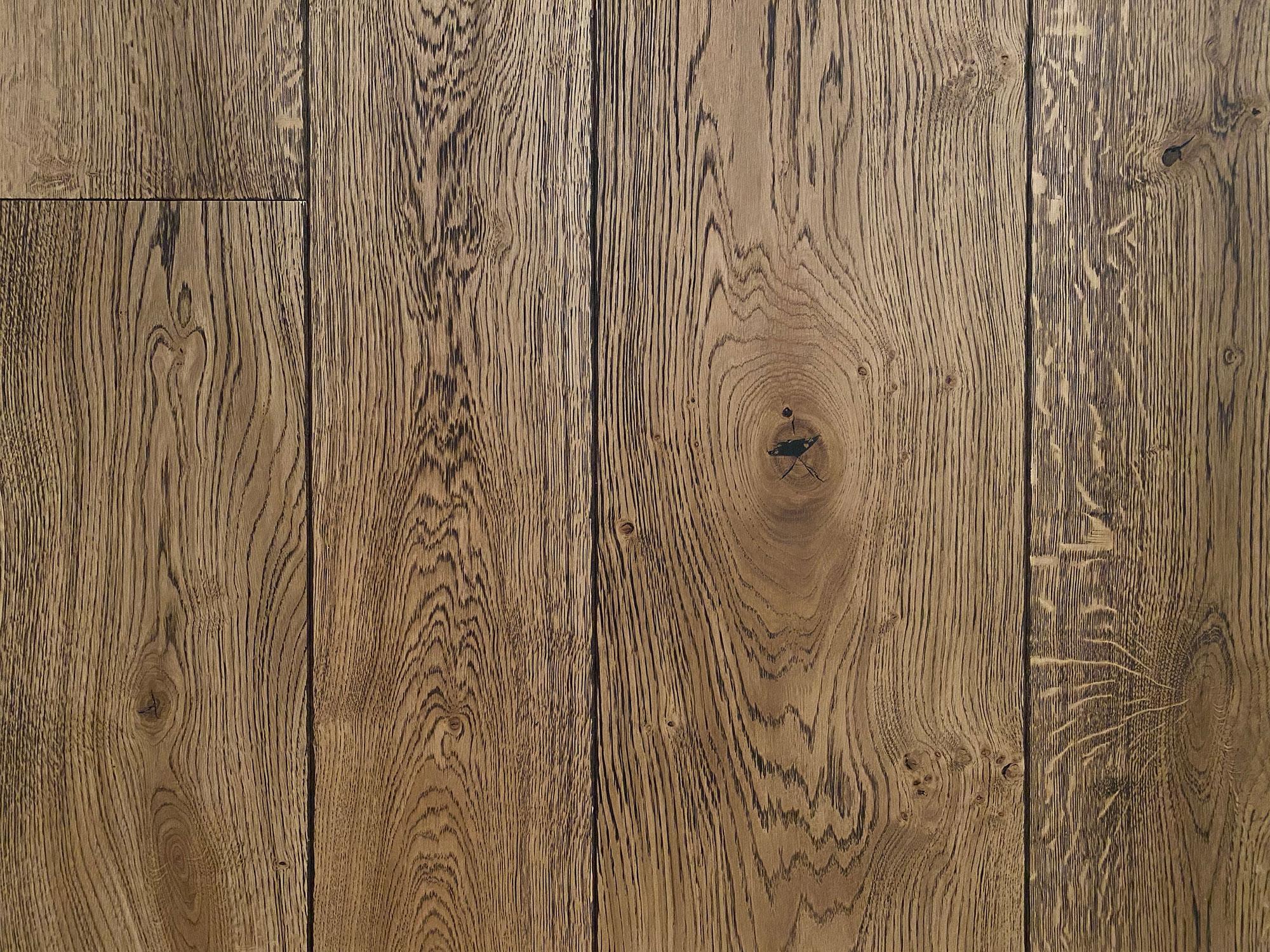 Oak flooring on sample board