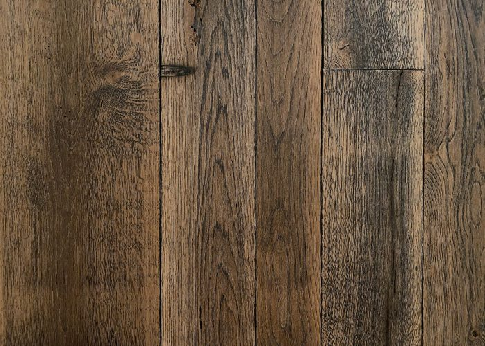 Reclaimed wood flooring with oak finish