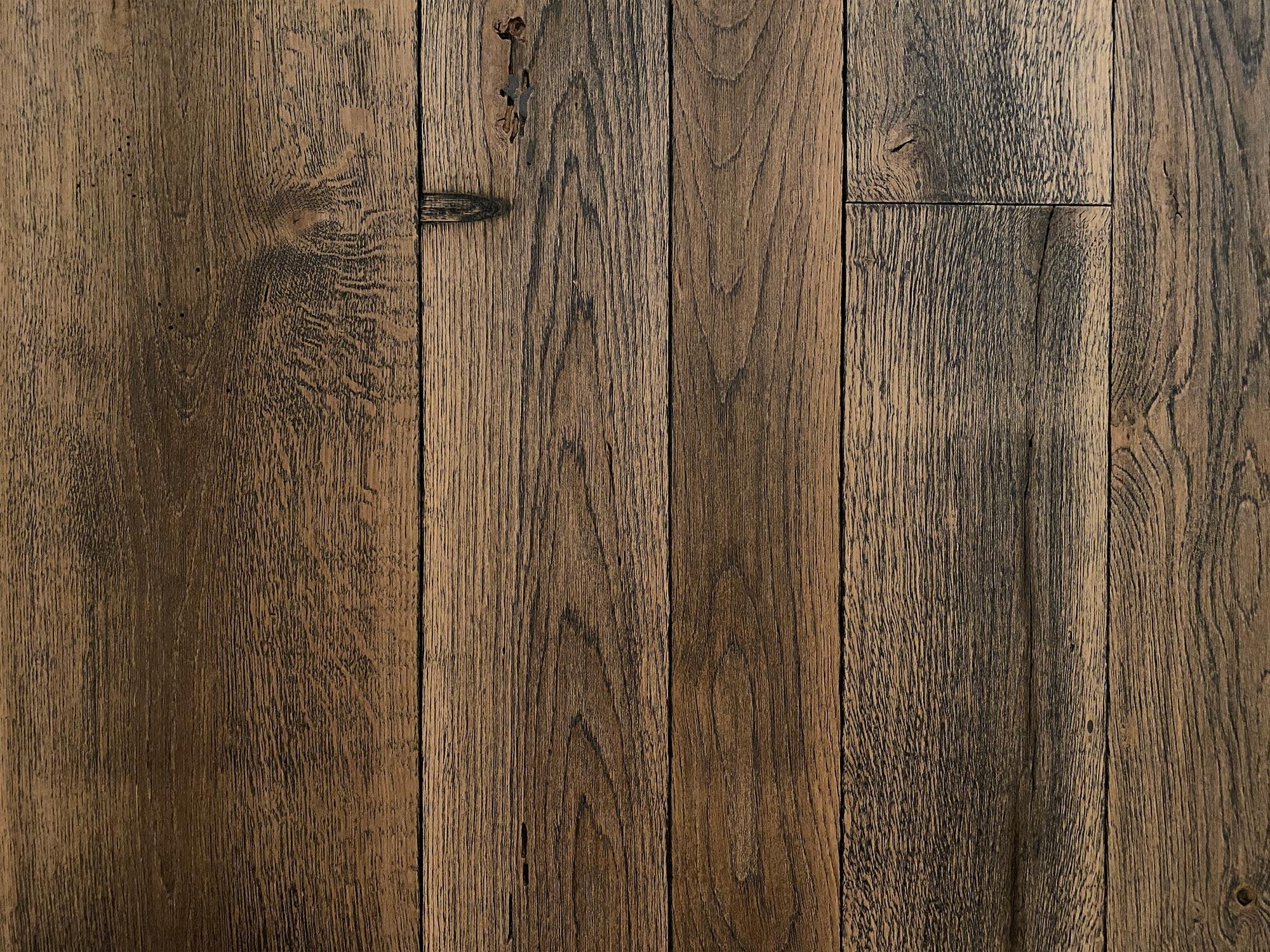 Reclaimed wood flooring with oak finish