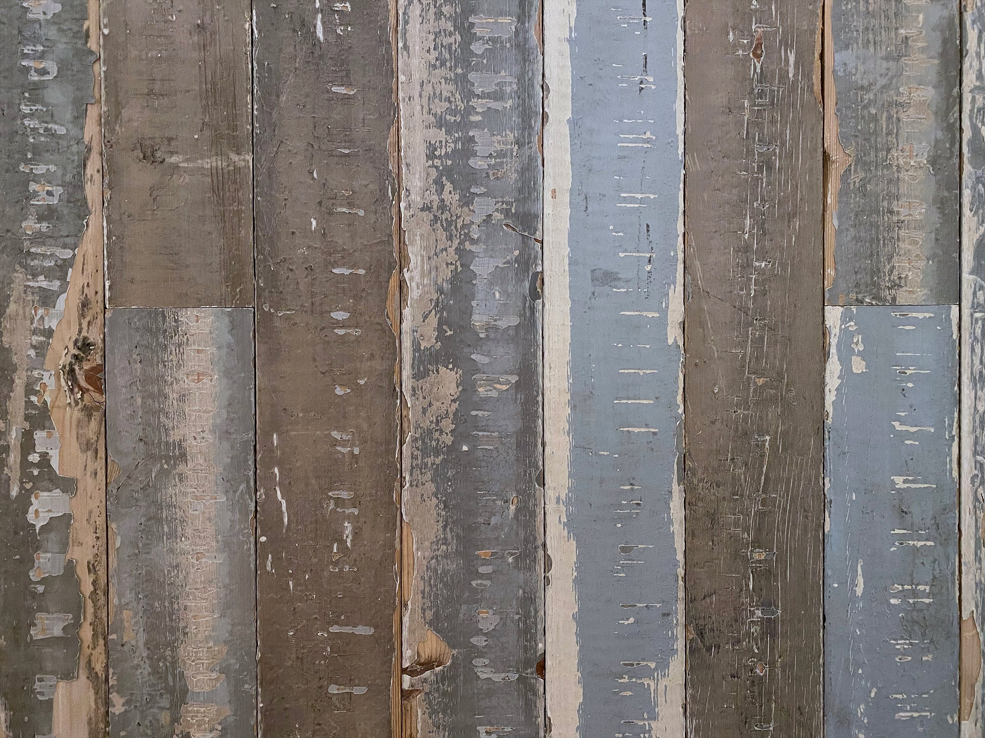 Reclaimed grey blue pine cladding on sample board