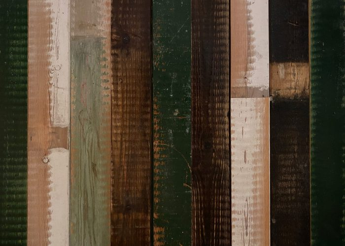 Green, Brown, White and grey reclaimed wall cladding