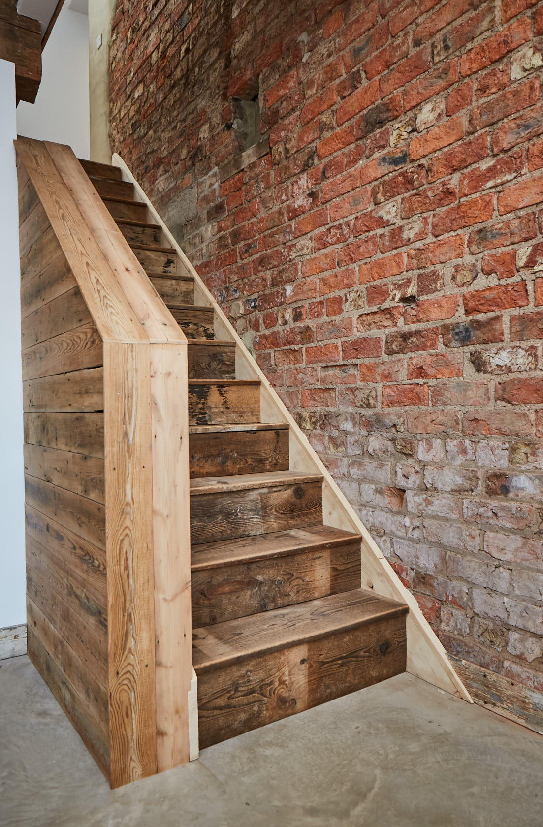 Staircase made from reclaimed wood