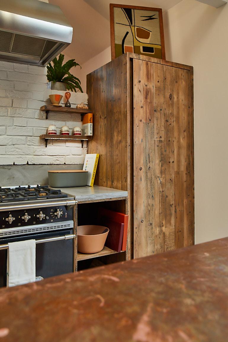 Reclaimed larder unit in bespoke kitchen