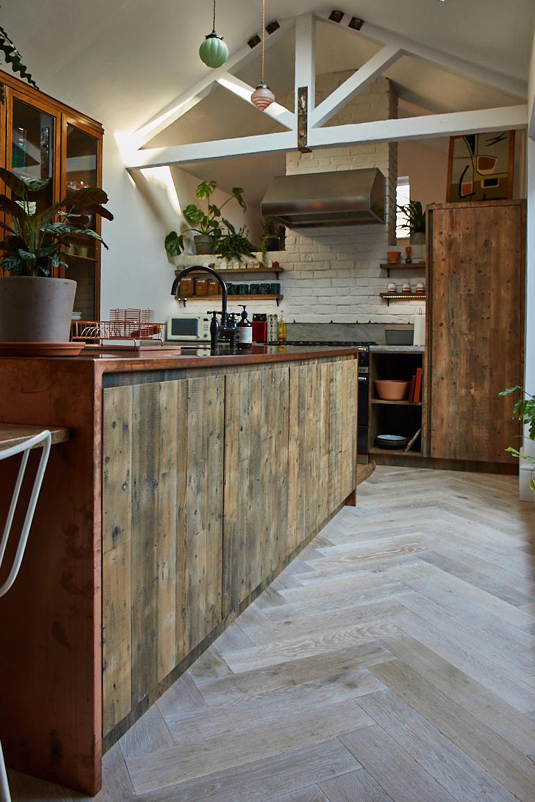 Bespoke kitchen island with copper worktop