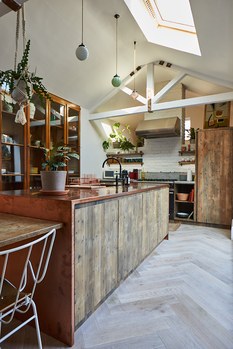Open plan reclaimed kitchen