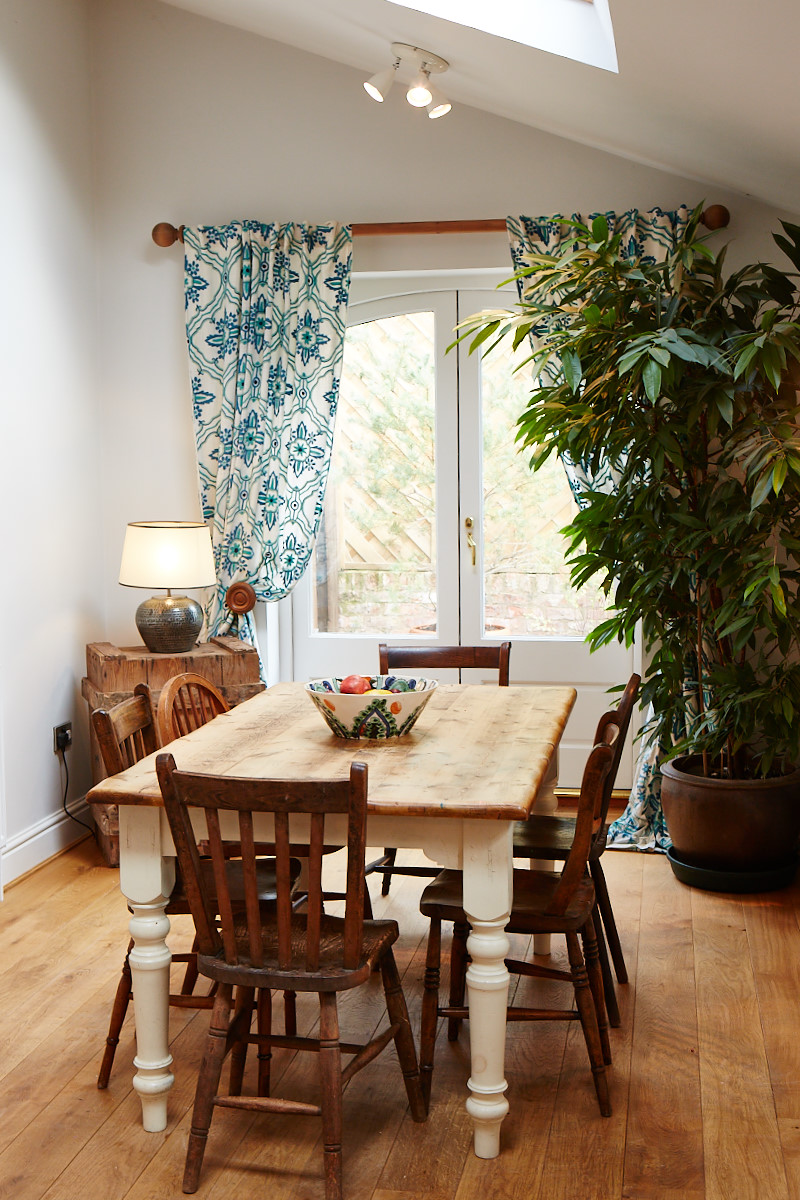 Cream farmhouse table with turned legs
