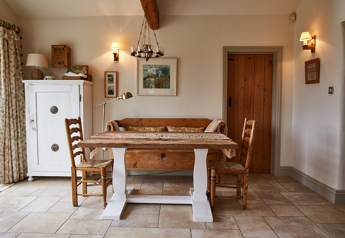 Painted farmhouse table with rustic pine worktop