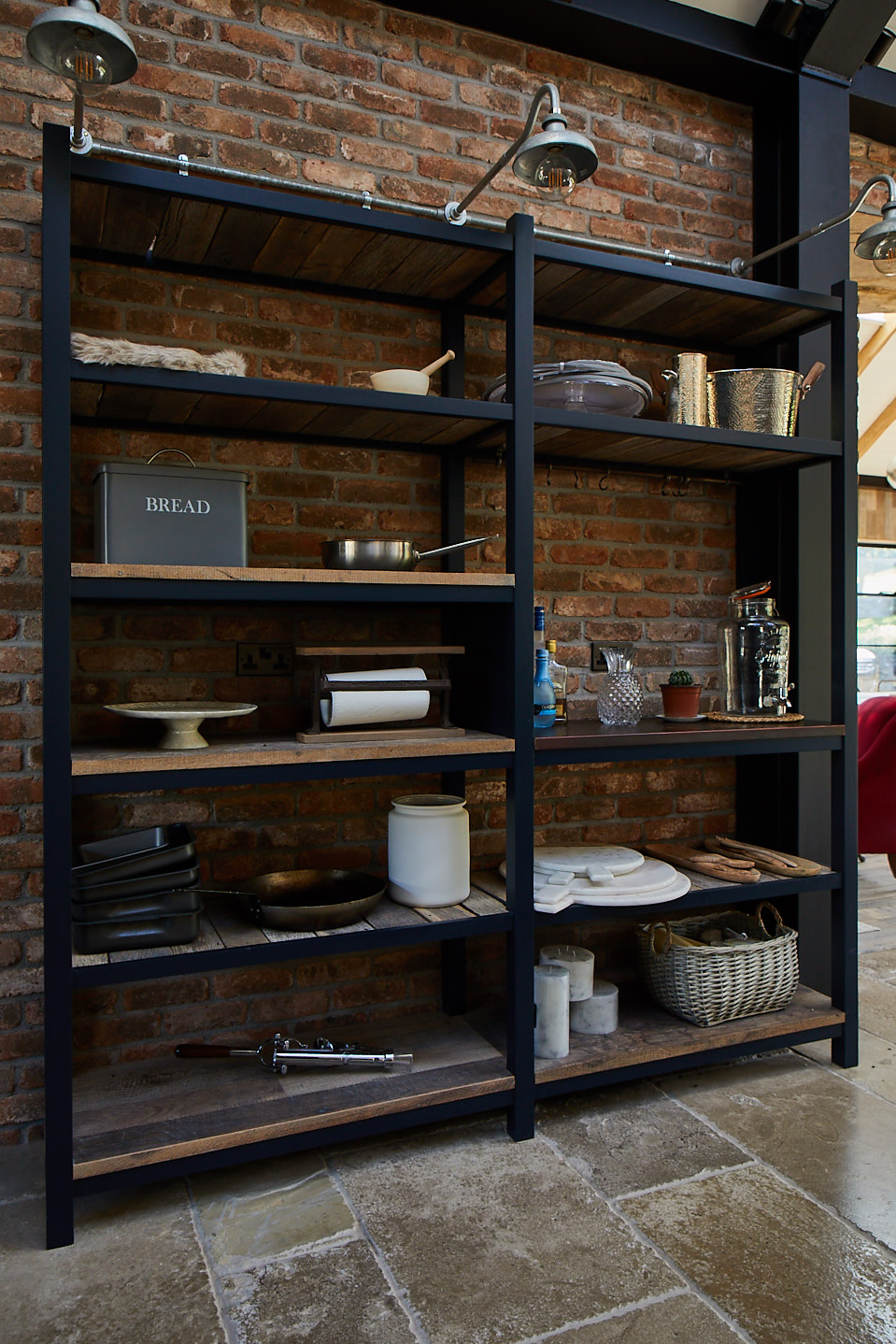 Basalt painted open unit with rustic shelves