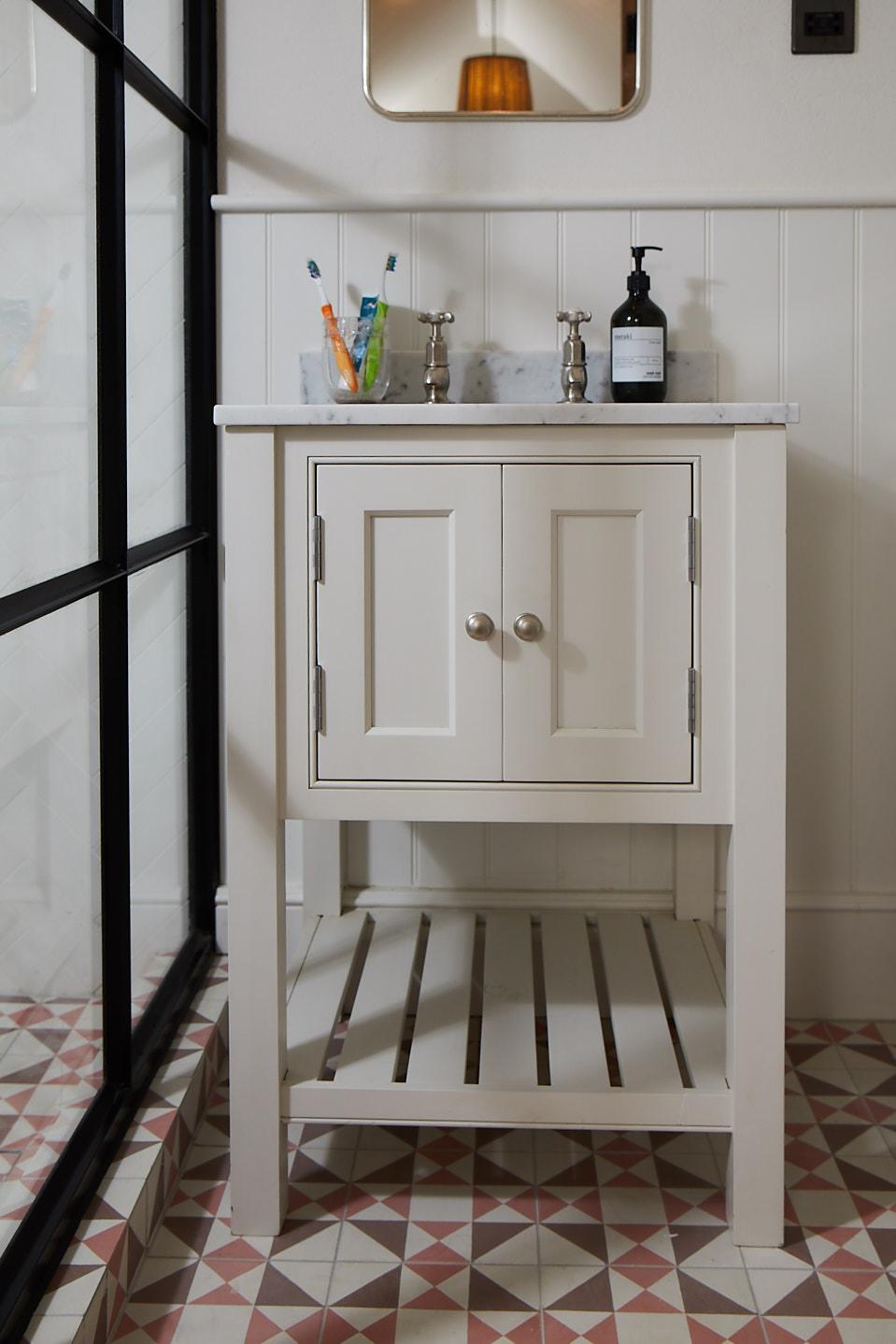 Simple painted single vanity unit