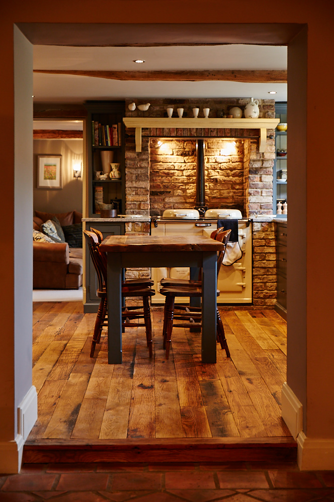 Blue table with rustic worktop