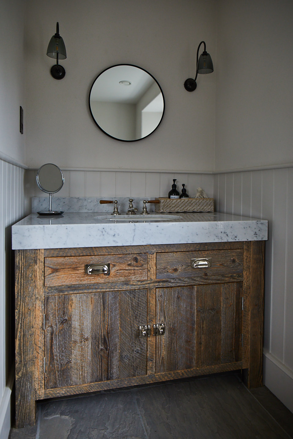 Reclaimed vanity unit with granite worktop