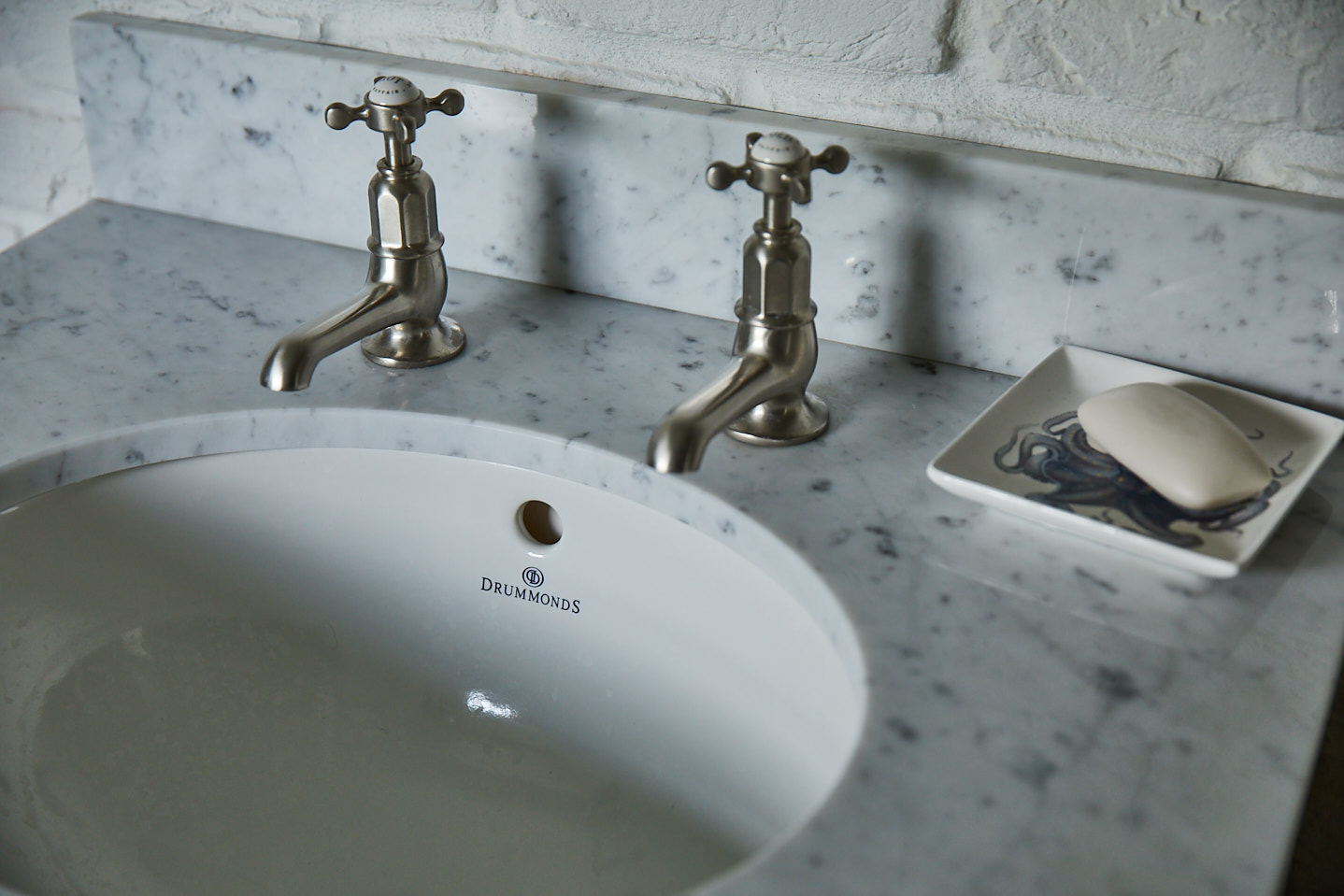 Close up of freestanding vanity unit worktop with ceramic sink