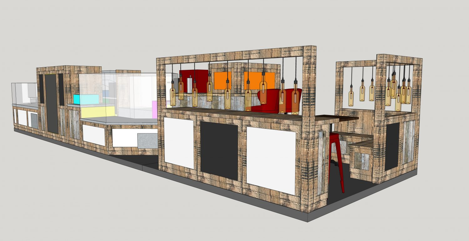 CAD visuals of our commercial bistro stand