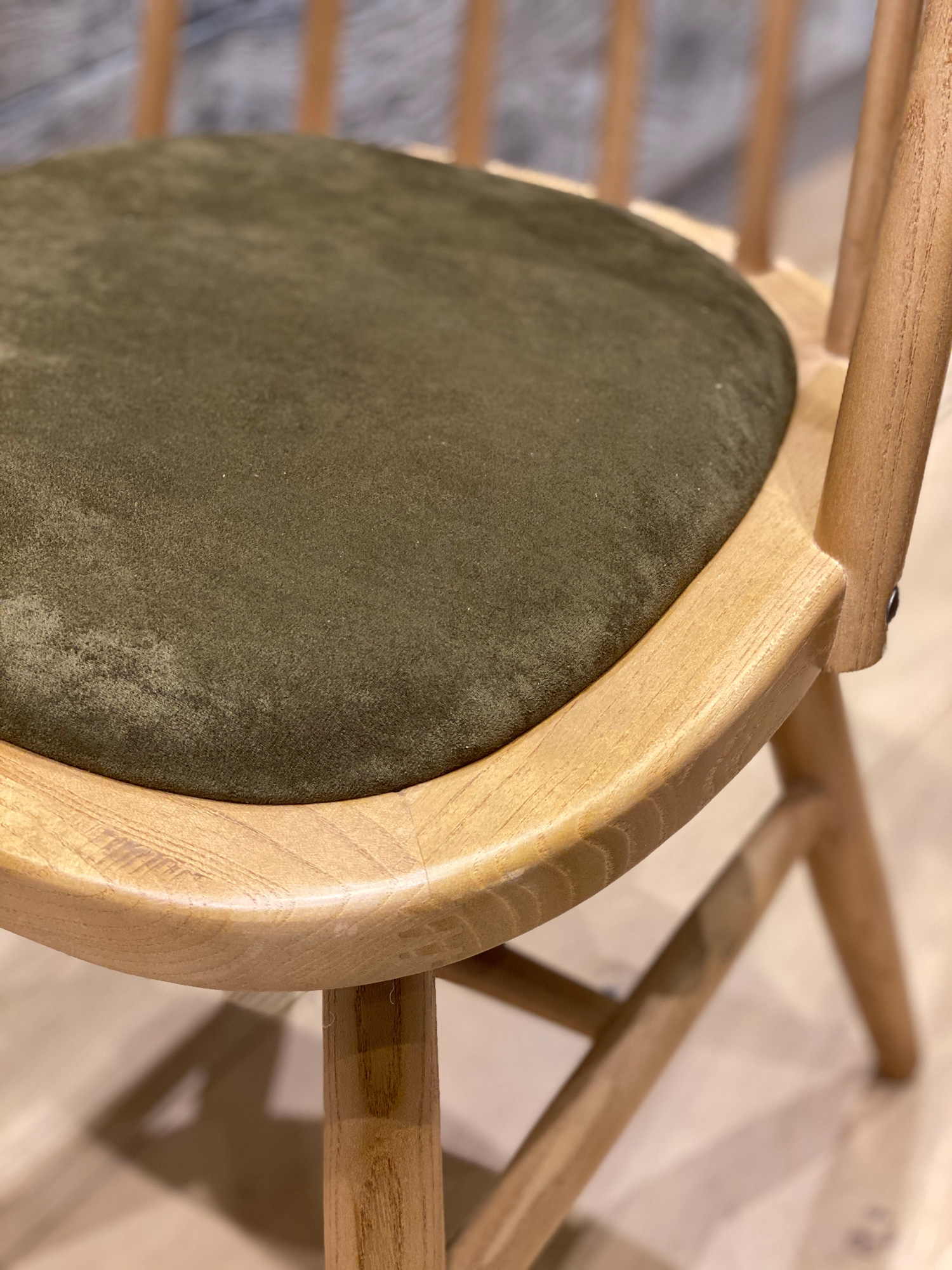 Olive green seat on oak dining chair