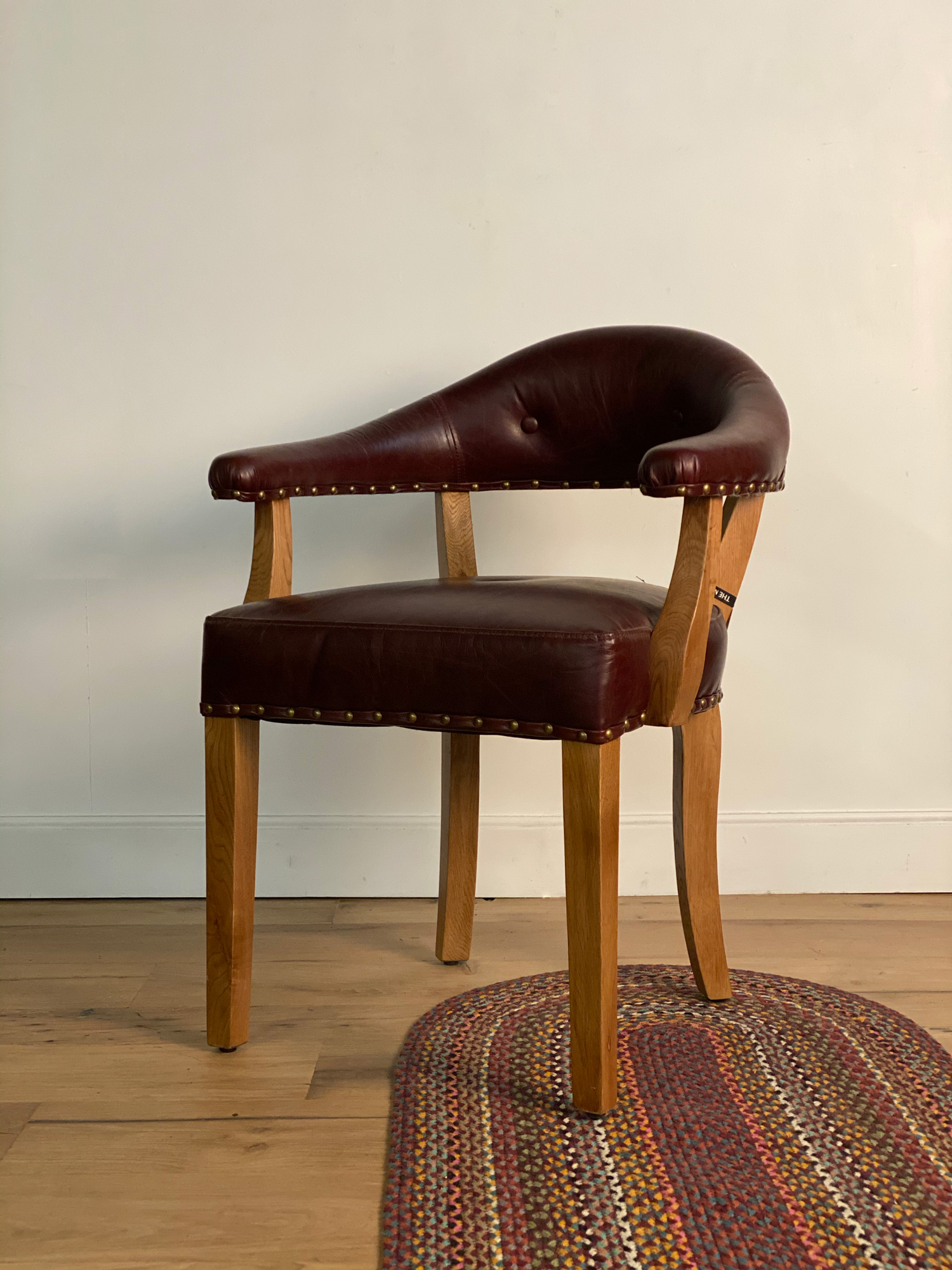 Occasional leather office chair with oak legs