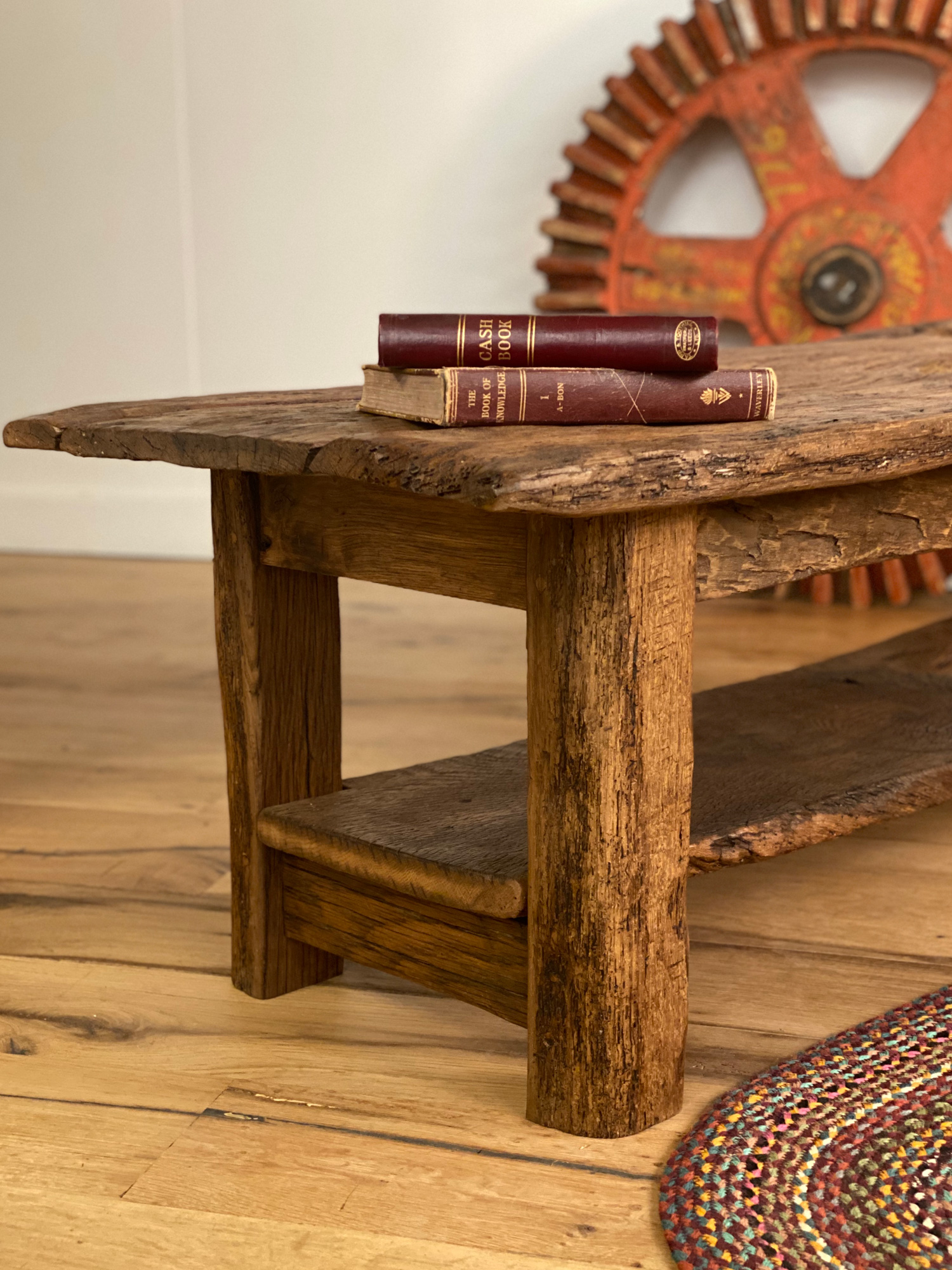 Rustic Coffee Table with Books