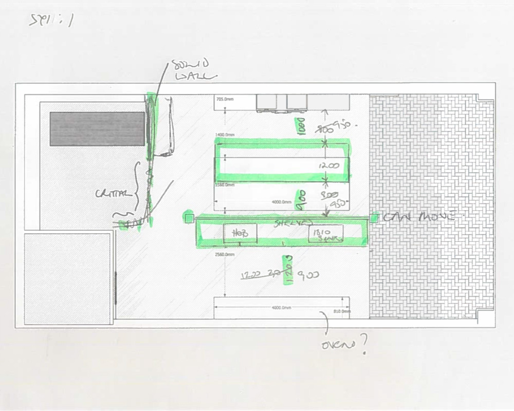 Sketches of London showroom