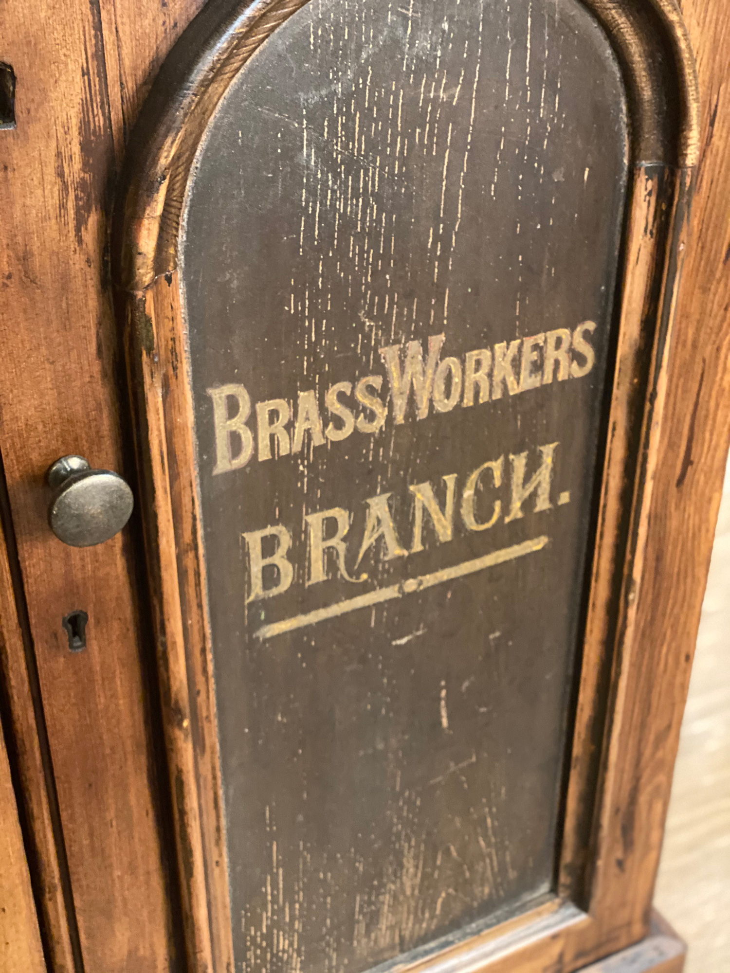 BrassWorkers detail on vintage sideboard
