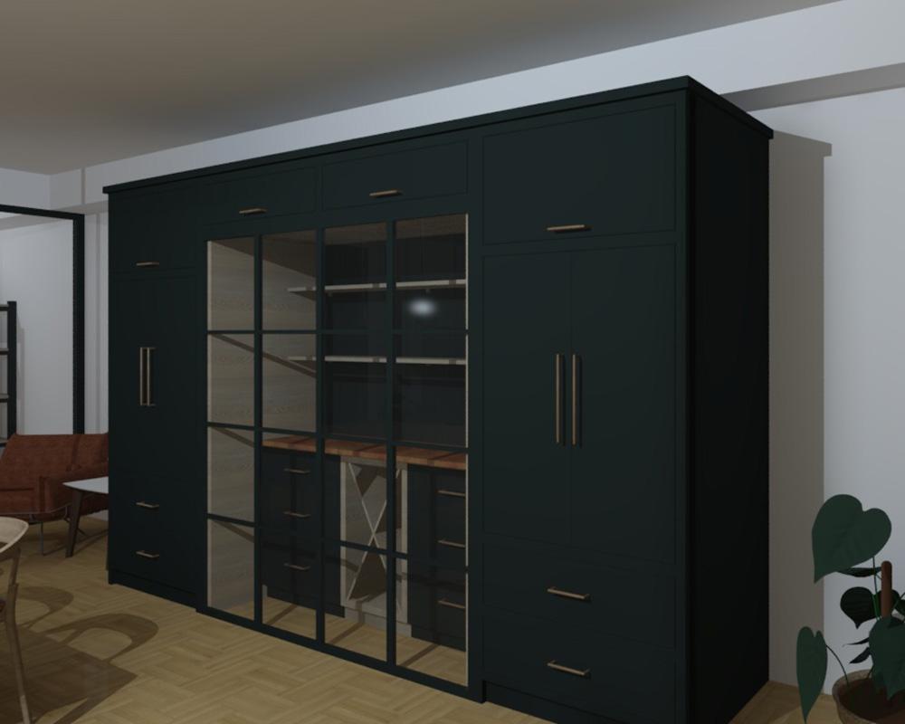 CAD design of bespoke metal doors in painted cabinetry