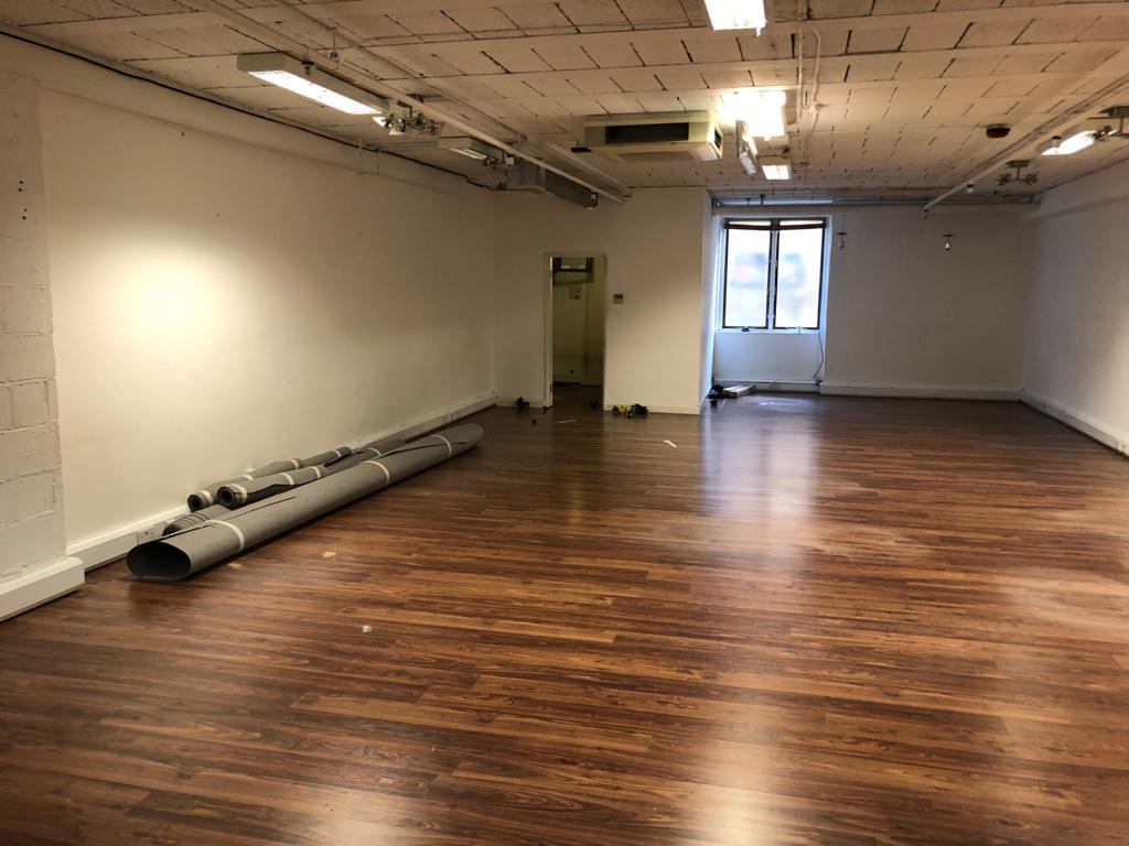 Empty London showroom ready for bespoke kitchen to be installed