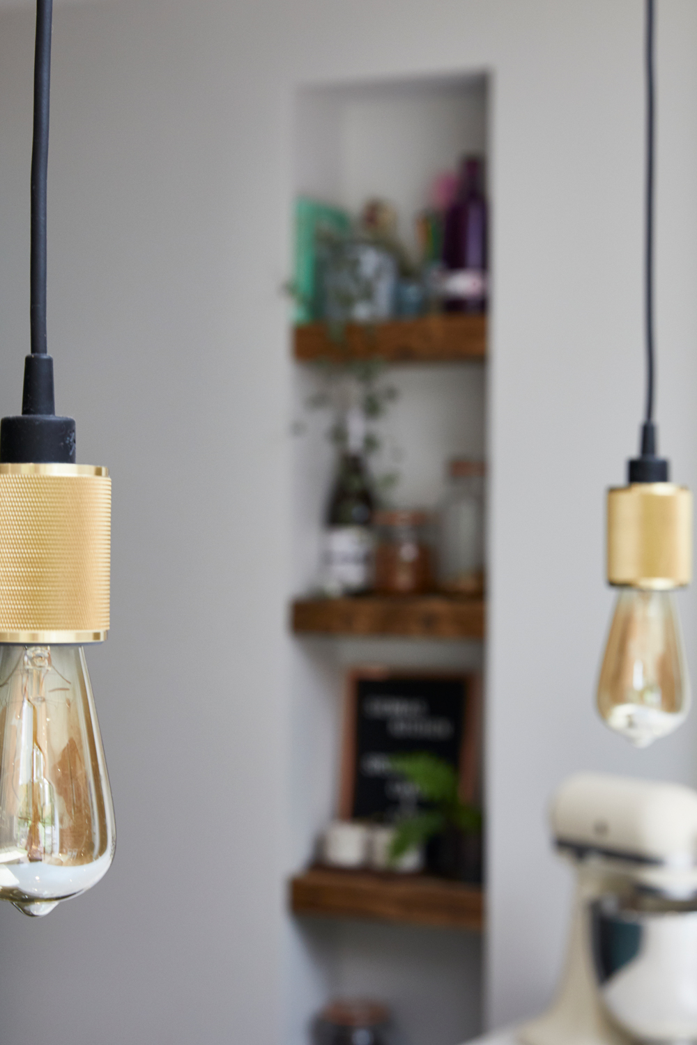 Brass heavy metal pendant lights by Buster and Punch