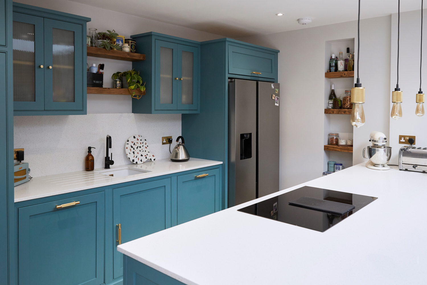 Tea With Florence bespoke kitchen with with quartz worktops and rustic open shelves