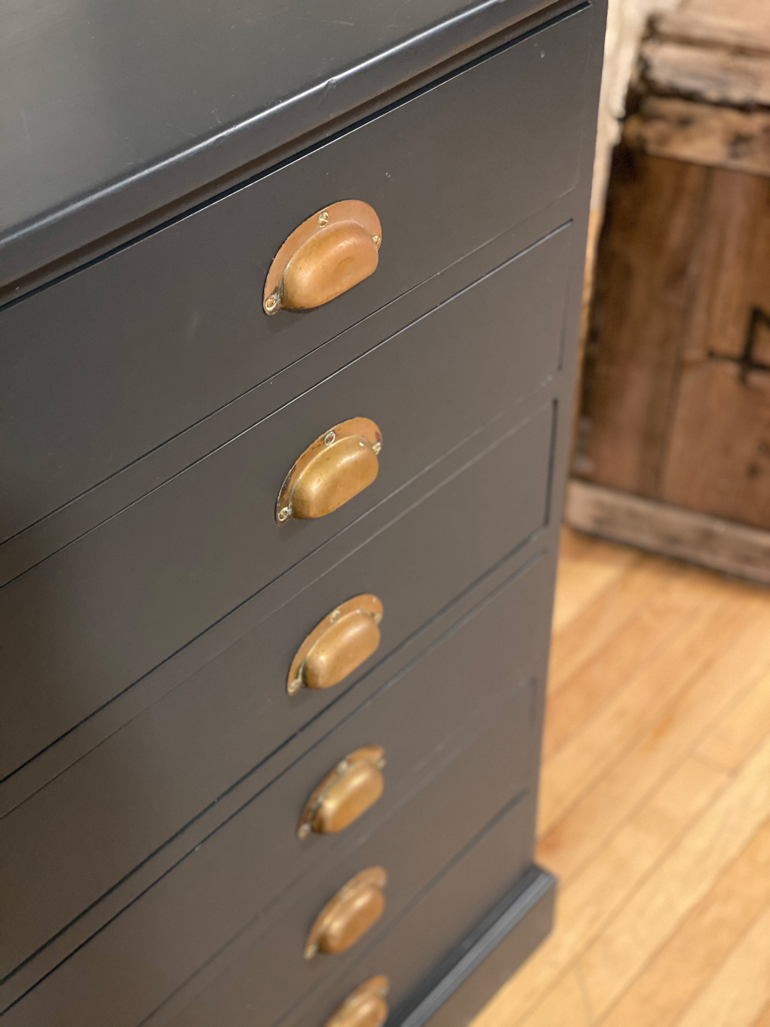 Burnt brass cup handles on original plan chest