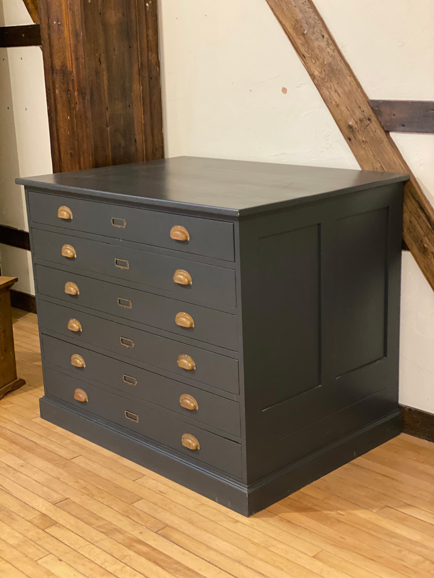 Restored plan chest painted in blue with brass cup handles