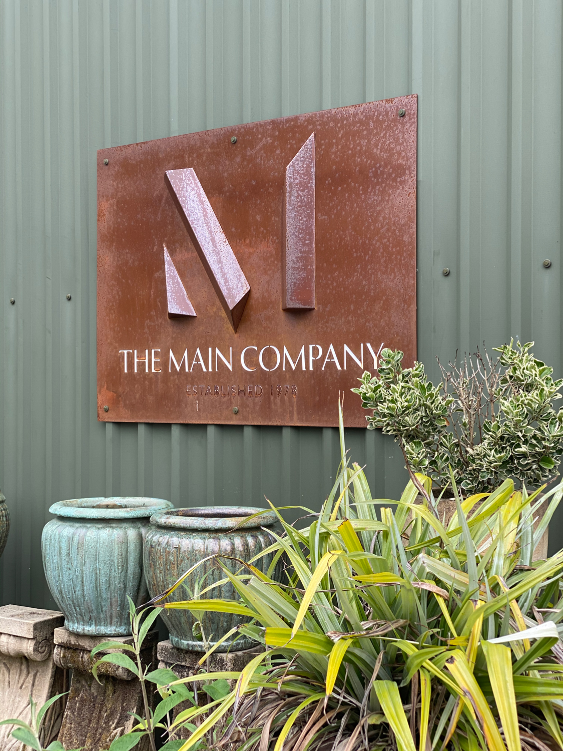 Yorkshire showroom signage made from rusted steel