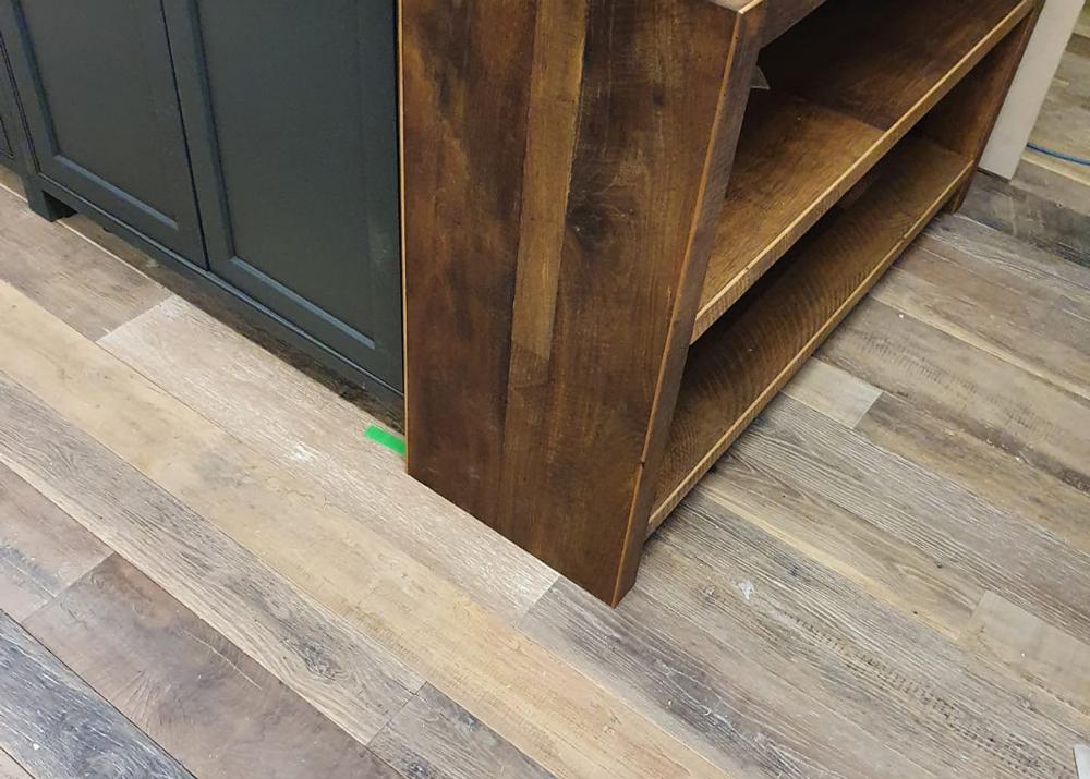 Reclaimed bookcase on bespoke kitchen island