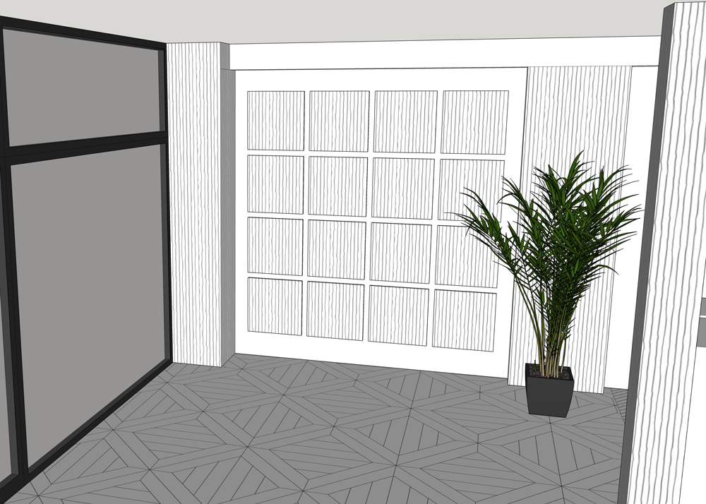 3D visual of reclaimed sample floor boards for the new London showroom
