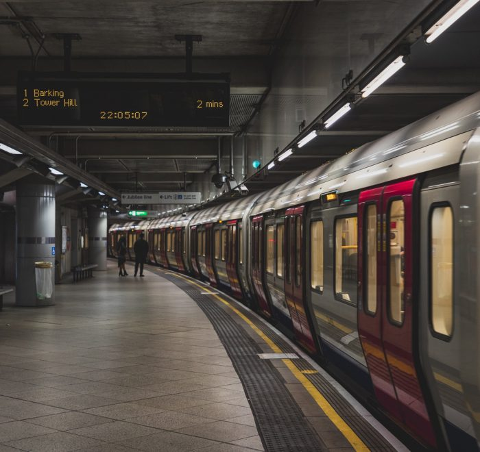 Train stationary in the London underground
